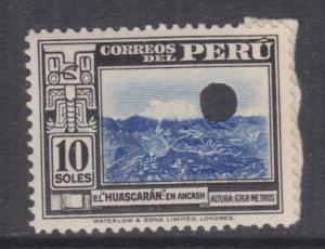PERU, 1938 Mt. Huascaran, 10s. Waterlow, London,Punched Proof, paper on reverse