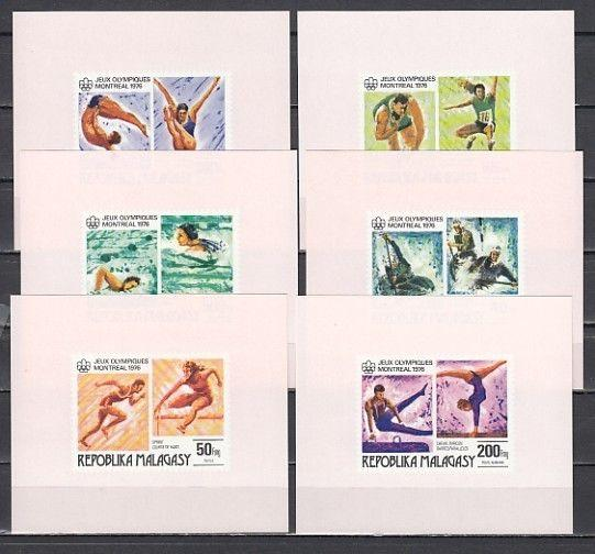 Malagasy Rep., Scott cat. 543-544, C153-C155. Montreal Olympics s/sheets.