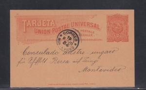 Uruguay Postal Card Montevideo Local Use 1894 to Austro-Hungarian Consulate