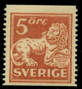 SWEDEN #133 5ore Lion yellow brown, perf. 13, LH unwatermarked Scott $325.00