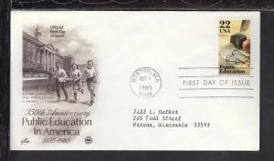 US Public Education 1985 PCS Typed FDC BIN
