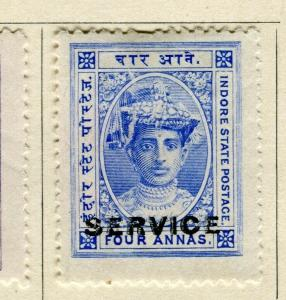 INDIA; INDORE-HOLKAR 1904 early local SERVICE issue Mint hinged 4a. value