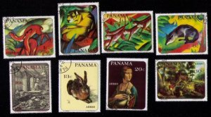 PANAMA Sc 496-499,c364-367 Complete Set of Eight Animal Painting Franz Mare VF