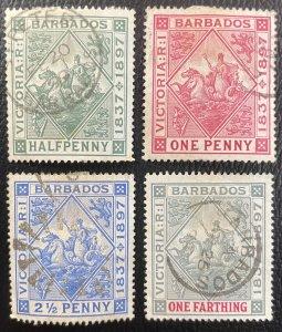 Barbados #81-84 Used VF (Wmk 1 - Paper Hinge Remnant) c1897 [R780]