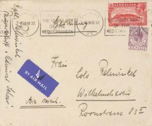 Gibraltar 1d KGV Rock of Gibraltar and 6d KGV 1937 Gibraltar, 25 Airmail to W...