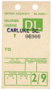 (I.B) British Railways Board : Delivered Luggage 2/9d (Carluke)