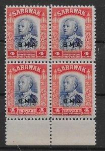 SARAWAK SG143 1945 BMA $4 BLUE & SCARLET MNH MARGINAL BLK OF 4