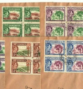 DOMINICA 1938-1947 Pictorials BLOCK OF FOUR Covers{6} KGVI Group {samwells}AE142
