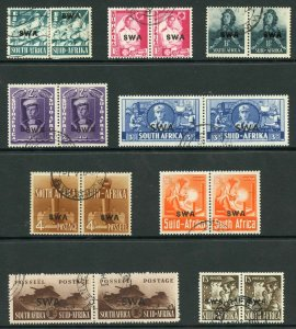 South West Africa SG114/22 1941 1/2d two singles all others pairs Fine used