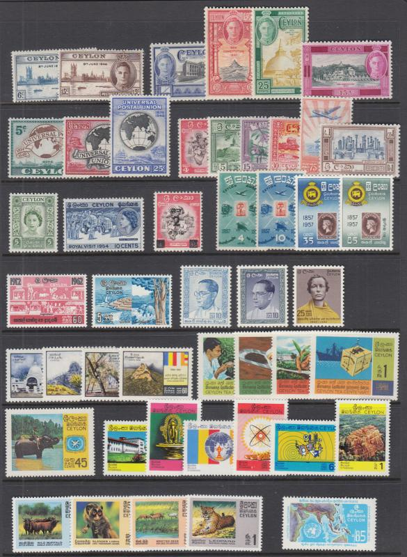 Ceylon Sc 293//469 MLH/MNH. 1946-1972 issues, 19 complete sets, VF