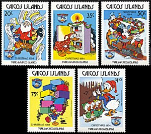 Caicos Islands 54-58, MNH, Disney Christmas 1984