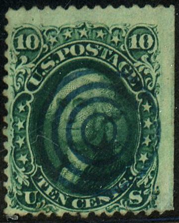 U.S. #68 Used Blue Bullseye Cancel