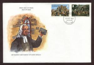 Isle of Man # 106 & # 107 , Methodist John Wesley FDC