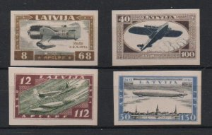 Latvia Sc CB21a-24a 1933 Wounded Aviators stamps set mint NH imperforate