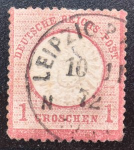 Germany Scott 17 used 1872 embossed Large shield nice Leipzig cancel
