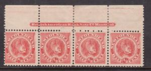 Newfoundland #57 Mint Fine - Very Fine Rare Imprint Strip Of Four