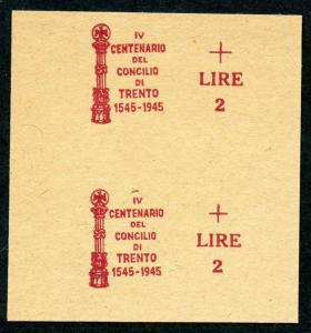 ITALY 1945 TRENT COUNCIL SURCHARGE PROOF PAIR ON YELLOW PAPER CAT 20,000 EUROS