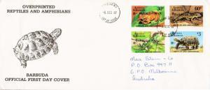 Barbuda Scott 923-926 Ink address with slight creasing.