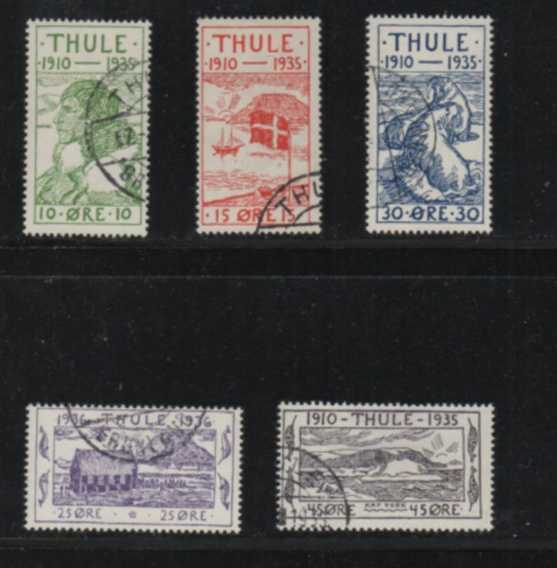 Greenland Thule Facit T1-5 1935 Thule locals stamp set used