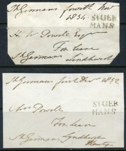 2 x Free Frank Fronts. St Germans in 2 Lines 1832, 34. (Postmaster General 1845)