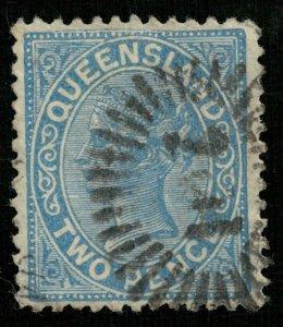 1879 -1881, Queensland, Queen Victoria, 2 pence, Australia (3957-T)