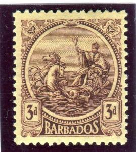 BARBADOS-1921-4 3d Purple & Pale Yellow  A OF CA MISSING FROM WMK Sg 213a