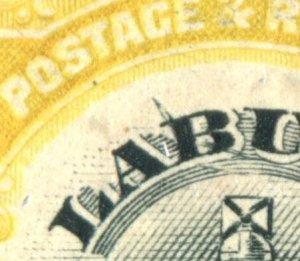 Labuan 1902. 12c black & yellow. Mint No Gum. LINE THROUGH 'B'. SG123c.