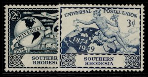 SOUTHERN RHODESIA GVI SG68-69, anniversary of UPU set, M MINT.