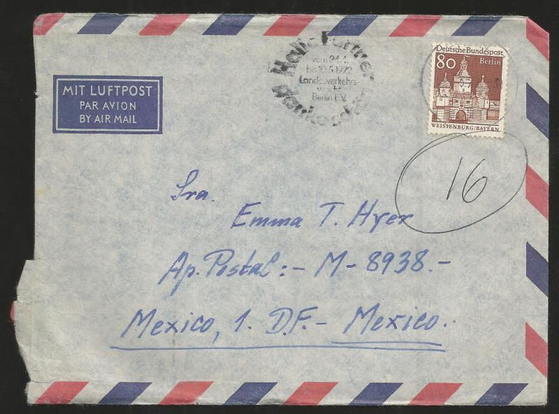 J) 1972 GERMANY, CAPITOL OF BERLIN, COMPLETE LETTER, AIRMAIL, CIRCULATED COVER,