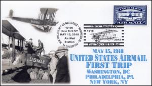 18-308, 2018, Air Mail, 100Years, Pictorial, Postmark, New York NY, Event Cover