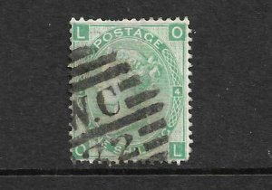 GB 1867-80  1/-  GREEN  QV  GU PL 4   SG 117