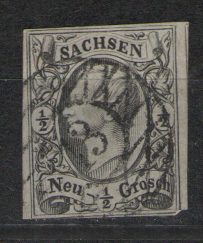 German States - Saxony 1855-60 Sc# 9 Used G/VG - 3 margins