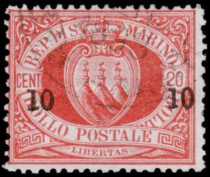 San Marino Scott 28 (1892) Used H F-VF, CV $19.00