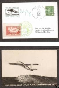 US Sc 632 on 1936 NY Flown Rocket Mail Cover signed by Willie Ley