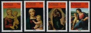 St Vincent 3487-90 MNH Christmas, Art, Paintings, Madonna