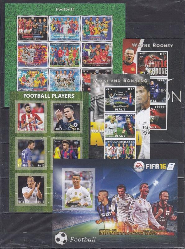 14pcs Sport FOOTBALL PLAYERS Messi Ronaldo Rooney FIFA imperf (private issue)FGA