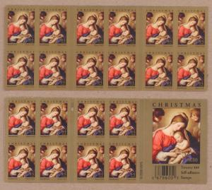 {BJ Stamps} 4424a  Christmas, Madonna   P1111. Pane of 20.  MNH 44¢. Issued 2009