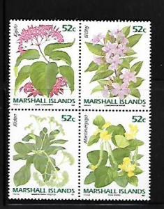 MARSHALL ISLANDS, 395-398, MNH, BLOCK OF 4, FLOWERS