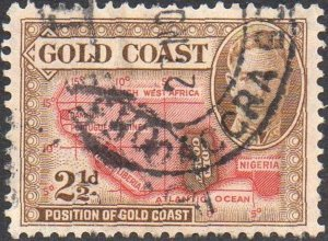 Gold Coast 1948 2½d yellow-brown and scarlet used