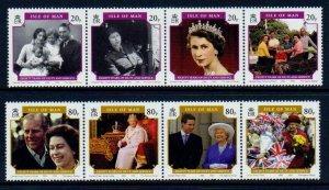 Isle of Man --2006 -QEII 80th Birthday Strips  MNH Set  # 1133-1134