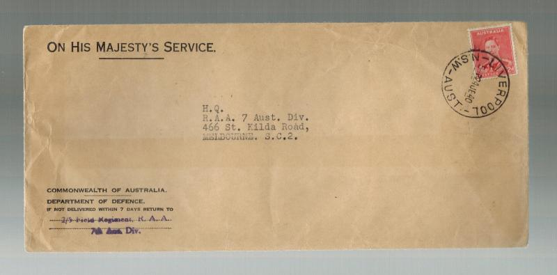 1940 Australia Army censored Cover to Melbourne 2/5 Field Regiment RAA DOD