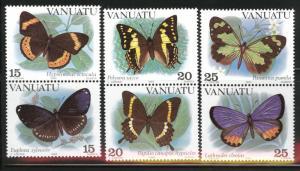 VANUATU Scott 346-348 MNH** Butterfly set CV$10.25