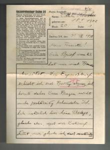 1938 Germany Dachau Concentration Camp Letter Sheet  KZ Wilhelm Kessler
