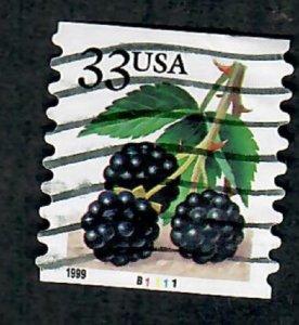 US #3304 Berries Used PNC Single plate #B1111