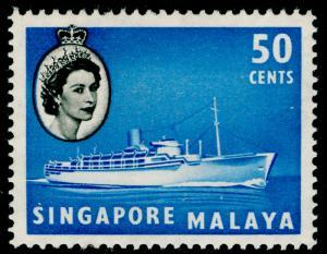 SINGAPORE SG49, 50c blue & black, LH MINT.
