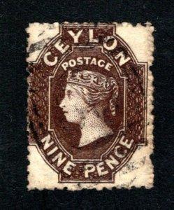 Ceylon #55,  F/VF, Used, Wmk. 1a, CV $52.50 ....  1290041