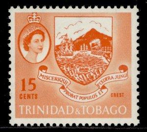 TRINIDAD & TOBAGO QEII SG291, 15c orange, M MINT.