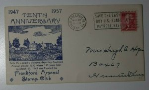 Frankford Arsenal Stamp ClubAnniv US Bonds Philadelphia PA 1957 Phialtelic Cover