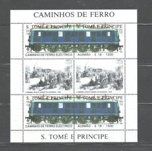 S TOME E PRINCIPE 1988 TRAINS M.S.. #825  MNH
