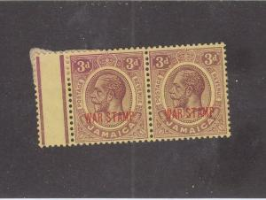 JAMAICA (MK972) # MRII  VF-MH  PAPER ADH  3d  KGV WAR STAMP PAIR CAT VALUE $11